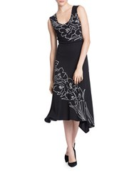 Tracy Reese Printed Back Wrap Dress Black