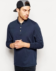 Asos Long Sleeve Polo Shirt In Jersey With Shawl Neck Navy