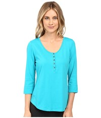 Jockey 3 4 Sleeve Top Nomad Turquoise Women's Pajama Blue