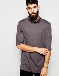 Asos Longline T Shirt With Drape Roll Neck In Relaxed Fit Bungeecord