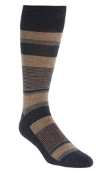 Nordstrom Men's 'Block Stripe Multi' Socks Navy Heather