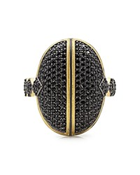 Freida Rothman Pave Dome Cocktail Ring Black Gold