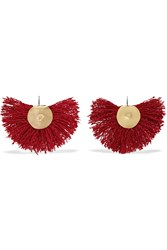 Katerina Makriyianni Hand Fan Gold Plated Wool Earrings Red Gold