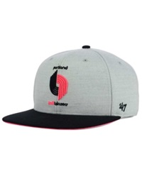 '47 Brand Portland Trail Blazers Wrist Shot Snapback Cap Heather Gray Black Neon Pink