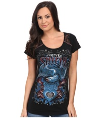 Affliction Memorial Short Sleeve Fashion Tee Black Lava Wash Women's T Shirt