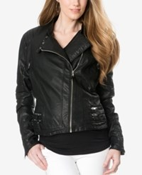 A Pea In The Pod Maternity Faux Leather Jacket Black