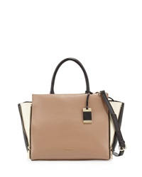 Christian Lacroix Avery Colorblock Leather Satchel Bag Taupe Bone