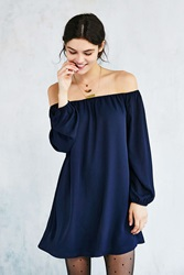 Ecote Off The Shoulder Swing Dress Navy