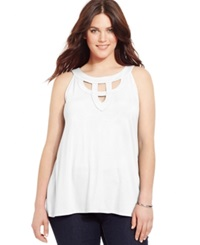 Inc International Concepts Plus Size Cutout Halter Top Bright White
