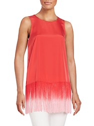 Kensie Ombre Fringed Tank Candy Apple