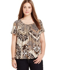 Style And Co. Plus Size Mixed Animal Print Pleated Top