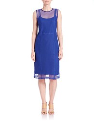 Dkny Seamed Swiss Dot Lace Shift Dress Blue