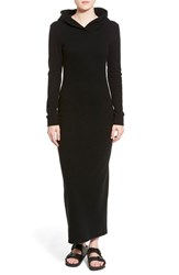 Women's James Perse Hooded Long Sleeve Maxi Dress Black