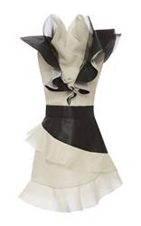 Ungaro Emanuel Color Block Ruffle Mini Dress White Black Brown