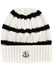 Moncler Striped Knitted Beanie Hat White