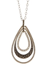 Judith Jack Sterling Silver Layered Teardrop Pendant Necklace Metallic