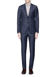 Isaia 'Cortina' Check Plaid Wool Cashmere Suit Blue