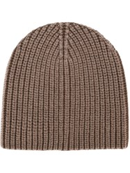 Eleventy Ribbed Knit Beanie Brown