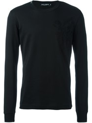 Dolce And Gabbana Embroidered Bee Crown T Shirt Black
