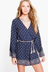 Boohoo Border Print Flare Sleeve Playsuit Navy