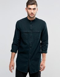 Asos Longline Military Denim Shirt With Grandad Collar In Black In Regular Fit Black