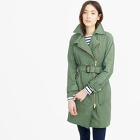 J.Crew Belted Zip Trench Coat In Water Resistant Cotton