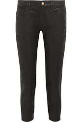 Frame Le Garcon Cropped Stretch Leather Slim Boyfriend Pants Black