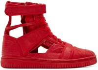 Christian Peau Red Lizard Skeleton High Top Sneakers