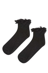 Topshop Glitter Double Lace Ankle Socks Black