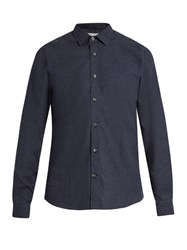 Gieves And Hawkes Button Cuff Brushed Cotton Shirt Navy