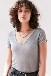 Pins And Needles Lizzie V Neck Tee Grey