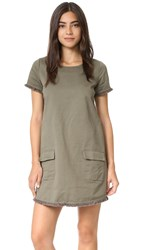 J.O.A. Frayed Army Dress Army Green