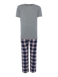 Howick Navy Check Pyjama Set Charcoal