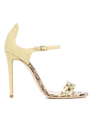 Jimmy Choo Moxy Python Skin Sandal Yellow And Orange