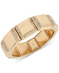 Kenneth Cole New York Gold Tone Square Pave Stretch Bracelet