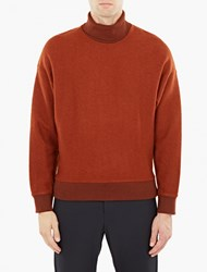 Wooyoungmi Rust Felted Wool Funnel Neck Sweatshirt