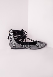 Missguided Lace Up Pointed Flats Snake Black