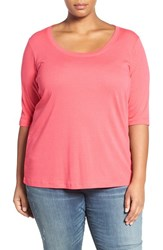 Sejour Plus Size Women's Elbow Sleeve Scoop Neck Tee Pink Polish