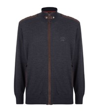 Paul And Shark Suede Trim Zip Sweater Male Grey