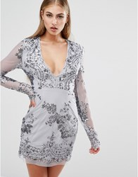 Missguided Long Sleeve Sequin Bodycon Dress Grey