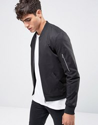 Asos Muscle Fit Bomber Jacket With Sleeve Zip In Black Black