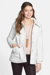 Coffee Shop Bow Pocket Coat Juniors White
