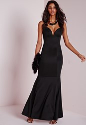 Missguided Sweetheart Neck Maxi Dress Black Black