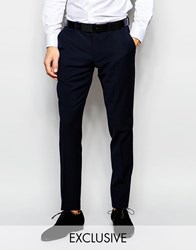 Number Eight Savile Row Exclusive Travel Suit Trousers With Stretch In Skinny Fit Blue