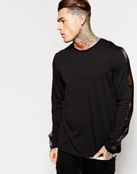Asos Skater Long Sleeve T Shirt With Sheer Panels Black