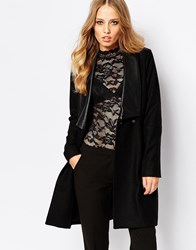 Y.A.S Templey Coat With Leather Detailing Black
