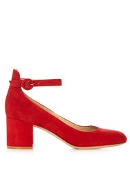 Gianvito Rossi Greta Block Heel Suede Pumps Red