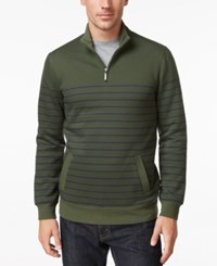 Club Room Men's Striped Quarter Zip Sweater Only At Macy's Dark Green
