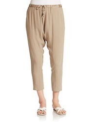 Eileen Fisher Silk Drawstring Harem Pants Mocha