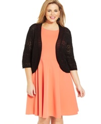 Jm Collection Plus Size Crochet Open Front Cardigan Deep Black